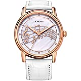 SONGDU Women Mother Pearl Dress Watches Music Note Diamond Rose Gold Bezel White Leather Strap