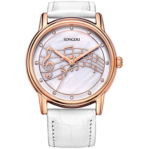 SONGDU Women Mother Pearl Dress Watches Music Note Diamond Rose Gold Bezel (Gold Bezel Watch)