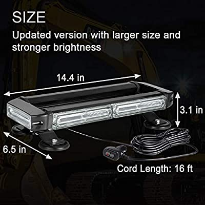 Roof Top Safety Amber Strobe Warning Light Bar, WOWTOU 40W 12V 24V Strong Magnetic Emergency Flashing COB LED Beacon Lights for Trucks Snow Plows Construction Vehicles Cars SUV: Automotive