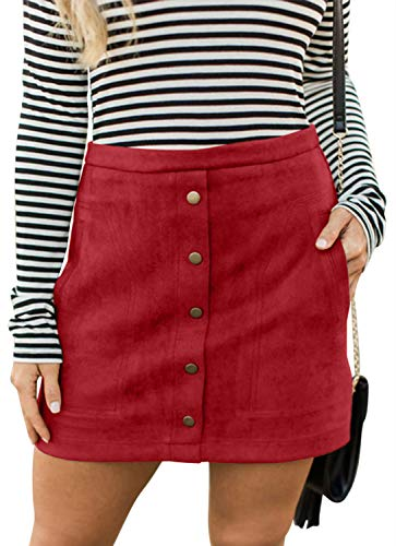 Meyeeka Womens Sexy High Waist Button Down Clubwear Faux Suede Pocket Mini Dress Red S Button Pleated Mini Skirt