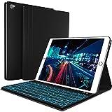 iPad Keyboard Case for New 2018 iPad - 2017 iPad - iPad Pro 9.7 - iPad Air 1 and 2 Bluetooth Backlit Detachable Quiet Keyboard – Slim Leather Folio Cover – 7 Color Backlight – Apple Tablet (9.7 - Black)