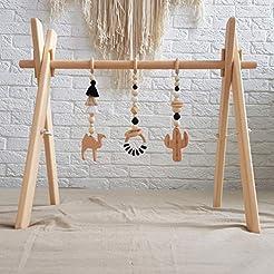 Black and white Boho Wood Baby Gym frame...
