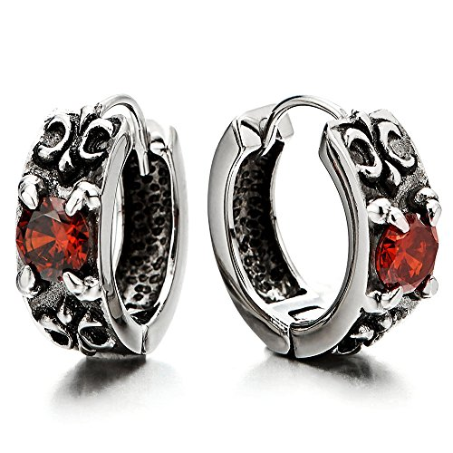(Pair Vintage Huggie Hinged Hoop Earrings with Red Cubic Zirconia, Stainless Steel, for Men Women)