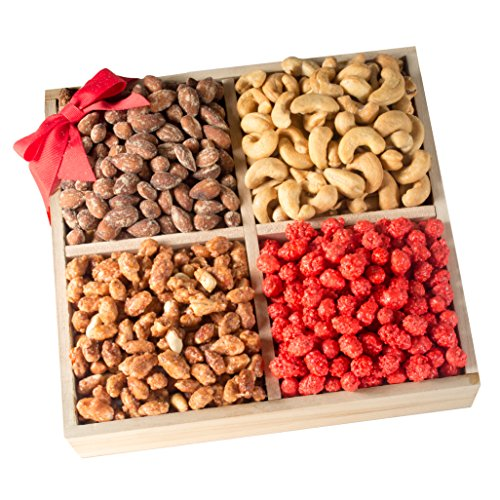 Broadway Basketeers Gift Basket 4 Section Gourmet Assorted Fancy Nuts Tray - Makes For A Perfect Gifts