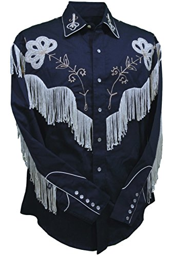 Rockmount Men's Vintage Western Embroidered Fringe Snap Shirt (Medium, Navy) - Gabardine Western Shirt