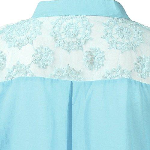 Weant Femme Tops T V lache Lace Ourlet Shirts Col Shirt Pure Femme Longues Femmes Chemisier Manches Blouse Chemisiers Bleu Blouse Couleur Chemise Lache rOTwrxqn1g