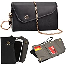 NuVur Universal Textured All-in-One Wallet Clutch Smartphone Wristlet Fits Samsung SM-G3518 Galaxy Core TD-LTE, SM-G3812 Galaxy Win Pro, SM-G386F Galaxy Core LTE / Galaxy Core 4G Black