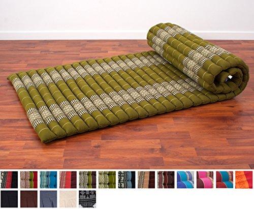 Mat Lounge (Leewadee Roll Up Thai Mattress, 79x30x2 inches, Kapok Fabric, Green, Premium Double Stitched)