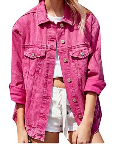 Jacket White Denim Button Down Sleeve GRMO Shift Pure Color Slim Women Long vqxwTC1