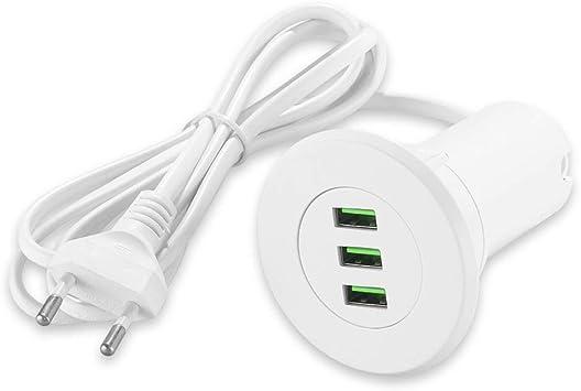 Winbang Cargador USB, portátil Hub Port 3 Grommet Desktop