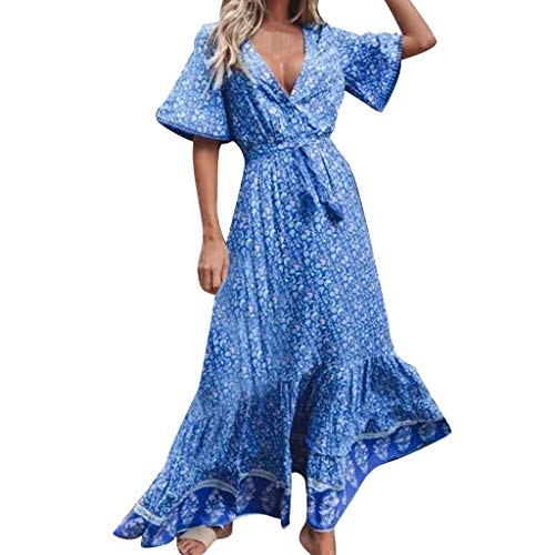 Transer- Bohemian Deep V Neck Flare Sleeve Dress Floral Print Ruffles High Waist Floor Length Dresses