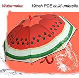 URToys Fruit Pattern Creative Children Cute Cartoon Watermelon Umbrellas Student Boys Girls Kids Umbrella Automatic Long-handle Rainy Umbrella Children's Day Gift
