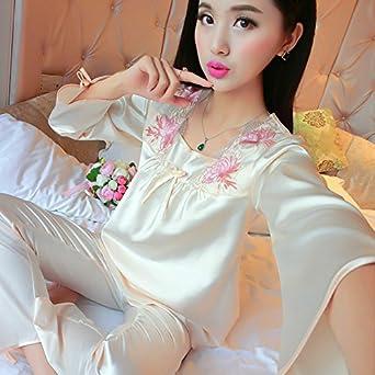 72007fbd98 Amazon.com  MH-RITA 2017 New Brand Silk Pajamas Set Women Spring ...