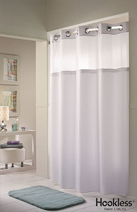 White Double H Hookless® Shower Curtain: Amazon.co.uk: Kitchen & Home