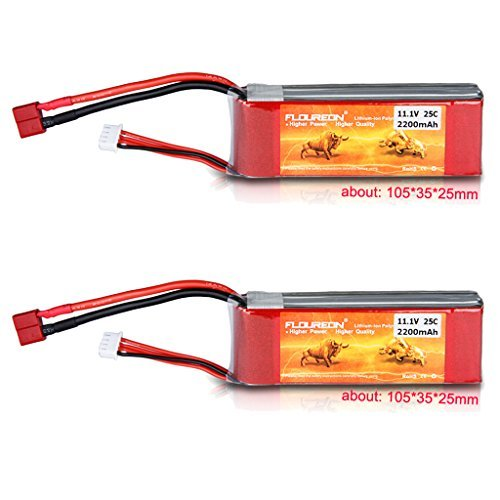 Floureon 2 Packs 3S 11.1V 2200mAh 25C Lipo Battery with Deans Plug for RC Quadcopter Helicopter Airplane Multi-motor Hobby DIY Parts (4.17 x 1.38 x 0.98 Inch)