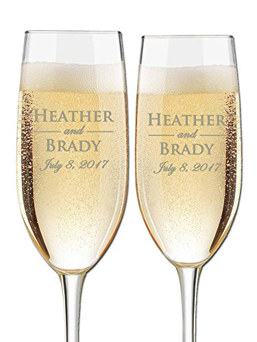 Custom Wedding Champagne Flutes- Set of 2 –Bride and Groom First Names and Wedding Date – Personalized for Bride and Groom - Customized Engraved Wedding Gift by Etch Workz