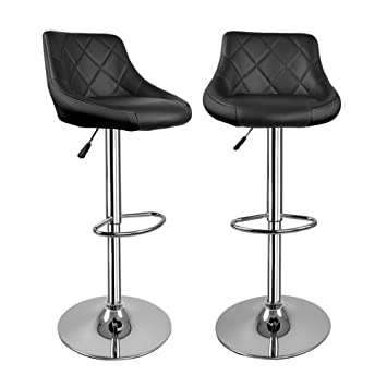 Magnificent Hollylife Set Of 2 Breakfast Chair Chrome Swivel Bar Stools Faux Leather Kitchen Stools Back Adjustable Seat Height 57 To 75Cm Inzonedesignstudio Interior Chair Design Inzonedesignstudiocom