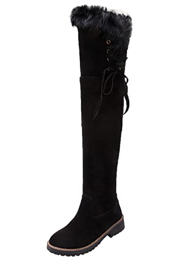 Winter Warm Thigh High Boots Women Faux Fur Suede Over The Knee Boots By BIGTREE