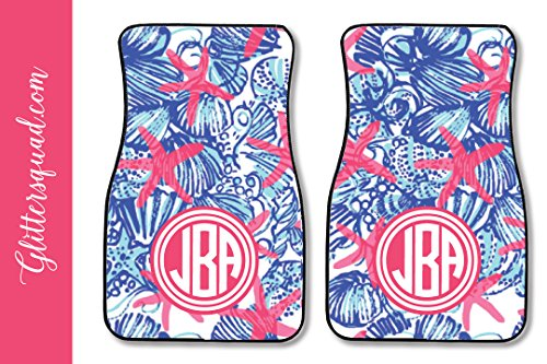 Monogram Car Mats (Monogramed Car Mat Sea Shells (Set of 2))