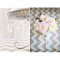 TRLYC 6Ft by 8Ft Champagne Chevron Wedding Sequin Backdrop for Christmas Baby Shower