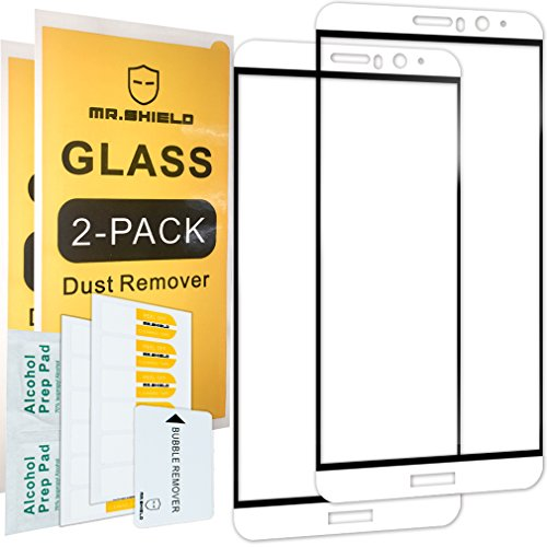 [2-PACK]-Mr Shield For Huawei Mate 9[FullCover][White And Black Color] [Tempered Glass] Screen Protector with Lifetime Replacement Warranty