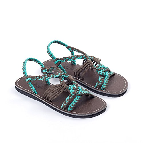 Plaka Flat Summer Sandals for Girls by Turquoise Gray 13 Twist by Plaka (Image #3)