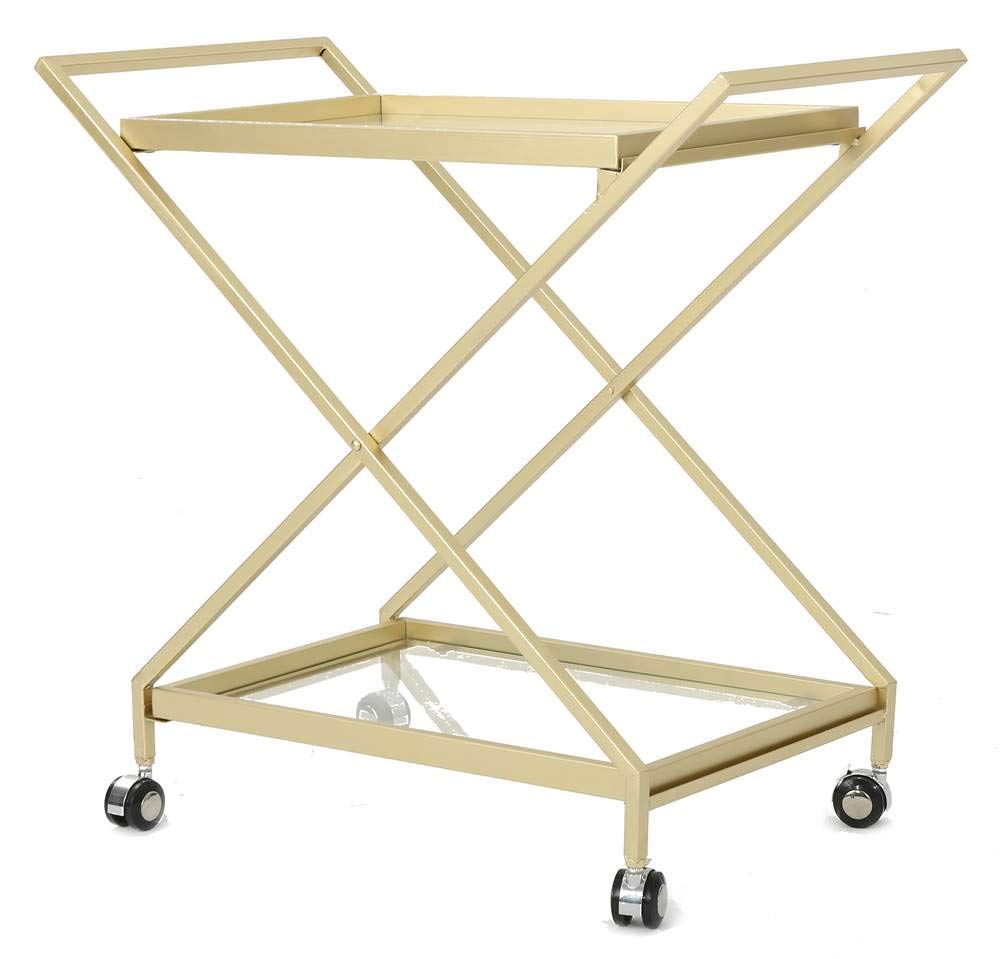 Christopher Knight Home Easter Indoor Industrial Iron and Glass Bar Cart, Gold, by Christopher Knight Home