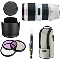 Canon EF 70-200mm f/2.8L IS II USM Telephoto Zoom Lens for Canon SLR Cameras + 3pc Filter Kit + Lens Hood + Deluxe Lens Pouch + Cap Keeper + Lens Cleaning Pen Accessory Bundle Kit