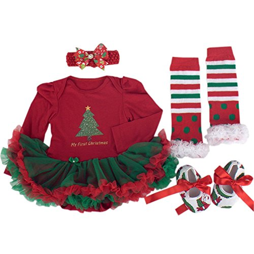BabyPreg Baby Girls My First Christmas Santa Costume Party Dress 4PCS (M for 6-9 months, Christmas Tree Long (Baby Girls Santa Dress)