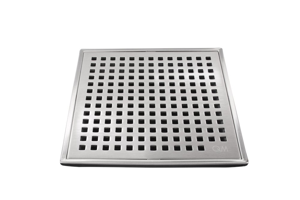 QM Square Shower Drain, Grate made of Stainless Steel Marine 316 and Base made of ABS, Lagos Series Mira Line, 4 inch, Satin Finish, Kit includes Hair Trap/Strainer and Key
