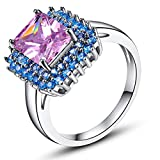 Narica Womens Brilliant 8mmx10mm Radiant Cut Pink Topaz CZ Engagement Ring Band