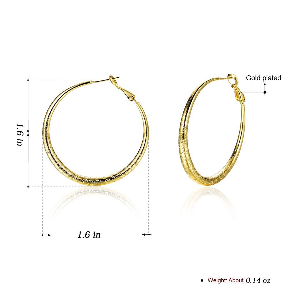 0d838baf9 Amazon.com: Hoop Earrings, 18K Gold Plated Rounded Hoops Earrings for Women  Girls Jewelry 1.6