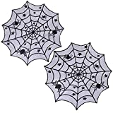 Pack of 2 40'' Multi-Functional Halloween Black Lace Spider Web Table Cloth Cover Halloween Party Decor Window Wall
