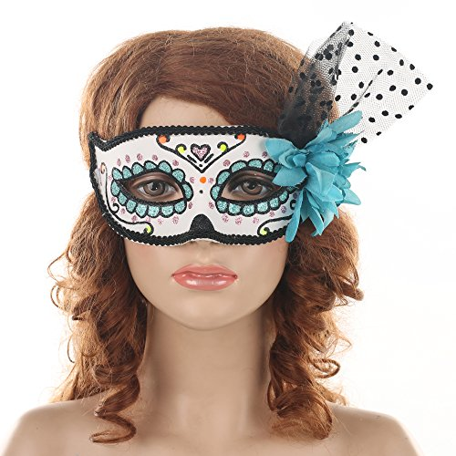 Beautiful Day Of The Dead Skull Masquerade Mask Adult Cosplay Costume Accessory Blue White Black -