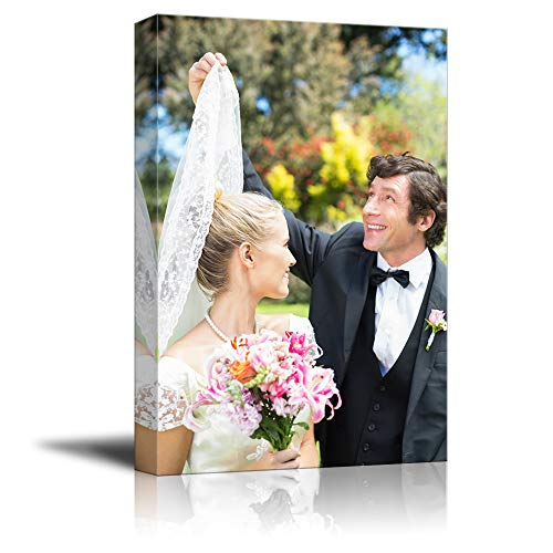 signwin Personalized Canvas Prints Beautiful Wedding Pictures Customize Poster Wall Art with Your Own Pictures Wood Frame Digitally Printed-24x16inches