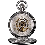 KS Full Hunter Skeleton Dial Mechanical Pocket Watch KSP010
