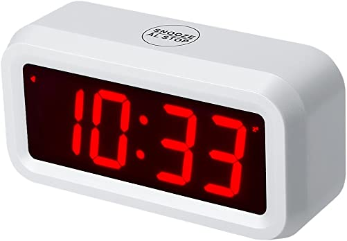 Timegyro Digital Alarm Clock Battery Operated with 1.2 Large Display for Bedroom, Heavy Sleepers White