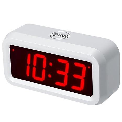 Timegyro despertador LED Reloj despertador digital con pilas Reloj de mesa portátil para
