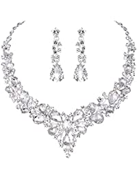 Bridal Austrian Crystal Necklace and Earrings Jewelry Set Gifts fit with  Wedding Dress 5f346e73fb8d