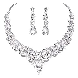 Austrian Crystal Necklace Earrings and Wedding Dress
