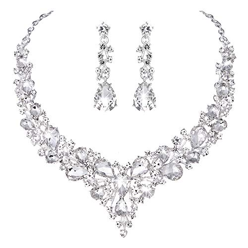 Youfir Bridal Austrian Crystal Necklace and Earrings Jewelry Set Gifts fit with Wedding Dress(Clear)]()