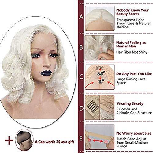 Anogol Hair Cap+ Platinum Short Blonde Lace Front Wig for White Women Curly Wavy Bob Wigs for Drag Q - http://coolthings.us
