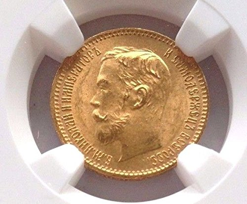 1902 IT Russia Empire 1902 AP Gold 5 Roubles Tzar Nichola coin MS 66 NGC