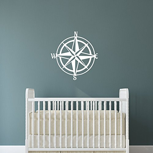 Nautical Nursery Wall Decal | Compass Rose Vinyl Wall Art Decor | LARGE 21 in x 20 in Nautical Star | Nautical Theme Wall Sticker for Baby Boys or Girls Room | North East South West Nautical Star