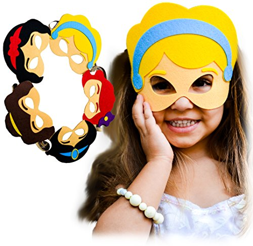 [Easter Basket Princess FELT Face Masks Set of 5 for Girls Toddlers Imaginative Play Cosplay] (Mom Dad And Child Halloween Costumes)