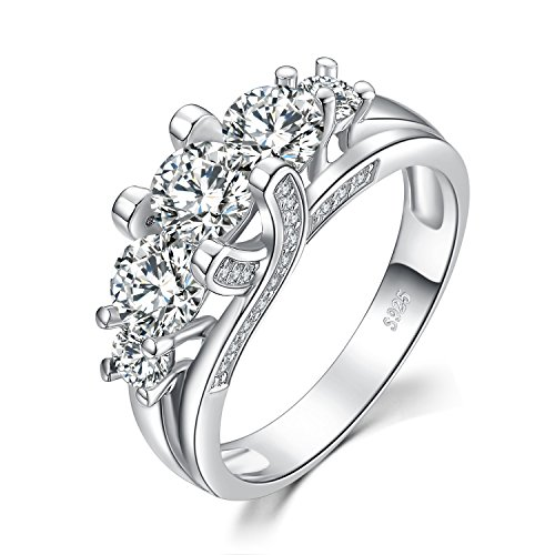Round Moissanite 3 Stone Ring - JewelryPalace Vintage 3 Stone 2.8ct Cubic Zirconia Wedding Engagement Ring 925 Sterling Silver size 6