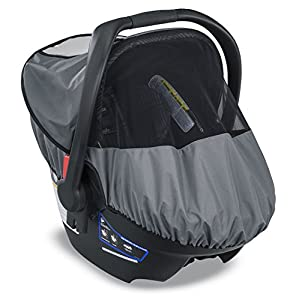 Britax B-Covered All-Weather Infant Car Seat Cover with UPF 50+   Waterproof Rain and Wind Shield + Ventilated Mesh…