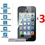 3 Films Vitre Verre Trempé de protection ecran pour Apple IPHONE 4/4S by D&C®