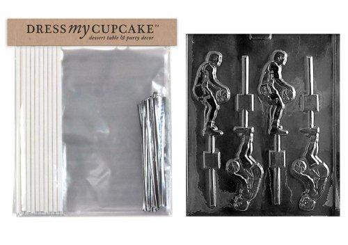 Dress My Cupcake DMCKITS006 Chocolate Candy Lollipop Packaging Kit with Mold, Basketball Player Lollipop