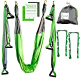 Kyпить Aerial Yoga Swing - Gym Strength Antigravity Yoga Hammock - Inversion Trapeze Sling Equipment with Two Extender Hanging Straps - Blue Pink Grey Swings & Beginner Instructions (Green and Platinum) на Amazon.com